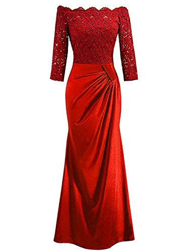 Honwenle Women Scallop Off Shoulder Ruched Plain Long Mermaid Evening Dress (Red Scallop)