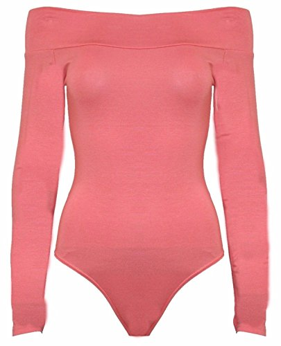 ddd3ac76c4 Red Olives Womens Ladies Off Shoulder Bardot Full Sleeves Ladies Stretchy  Bodysuit Leotard Top UK 8-22 - Buy Online in Oman.