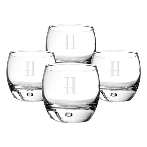 Cathy's Concepts Personalized Heavy Based Whiskey Glasses, Set of 4, Letter - Bottom Glasses Round