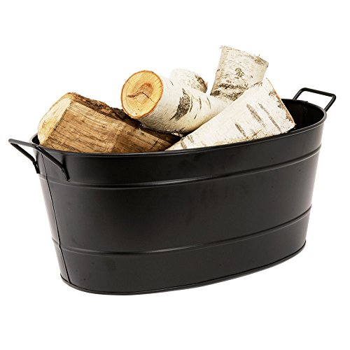 Achla designs black oval galvanized steel tub import it all for Oval garden tub