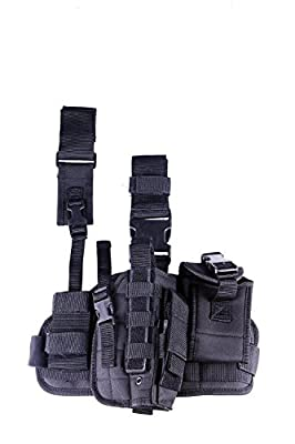 Military Tactical Hip Molle Leg Gun Holster QD Versatile Pistol Drop Radio Pouch Left/Right 11017