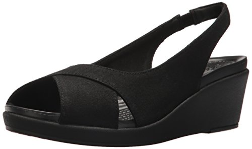 Crocs Women's Leigh Ann Slingback Wedge Sandal, Black, 11 M US (Crocs Open Toe Wedge)