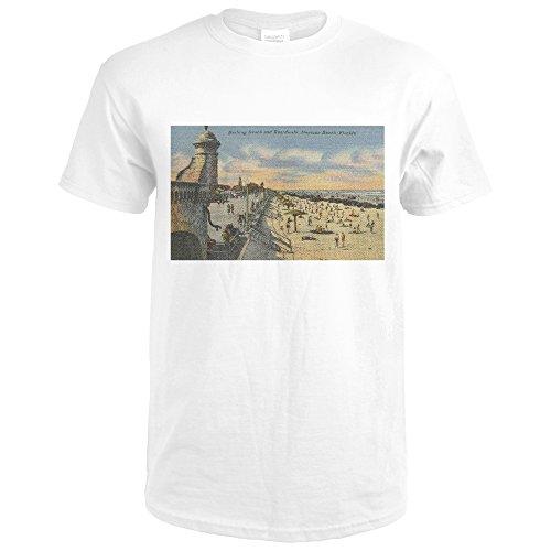 Daytona Beach, FL - Boardwalk View of Beach (Premium White T-Shirt - Walk Daytona Beach Beach