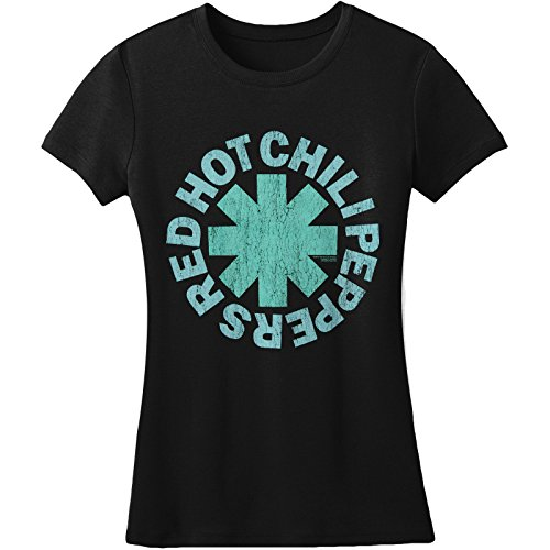 Bravado Girls T-shirt (Red Hot Chili Peppers Women's Aqua Asterisk Girls Jr Small Black)