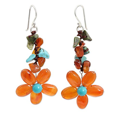 - NOVICA Multi-Gem Carnelian Silver Plated Beaded Earrings 'Sunny Blooms'