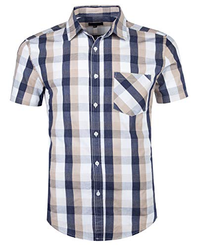 Men Plaid Cotton Casual Short Sleeve Button Down Dress Shirts Beige-XL