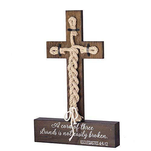 Ling's moment A Cord of Three Strands Wedding Sign - Bible Cross Wedding Unity Sign -Tie The Knot Ceremony - Strand of Three Cords Sign