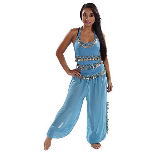 MissBellyDance Harem Pants & Halter Top Belly Dancer Costume Set | Sadiqa II (Turquoise/Gold, XXL) - -