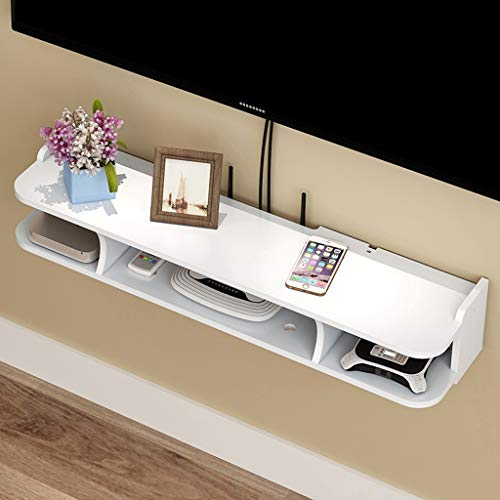 Wall-Mounted TV Shelf Wall Shelf Floating Shelf Router Set Top Box Shelf TV Background Wall Decoration Shelf TV Stand TV Console White (Size : 60cm)