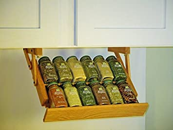 Under Cabinet Mounted Mini Spice Rack (English Chestnut)