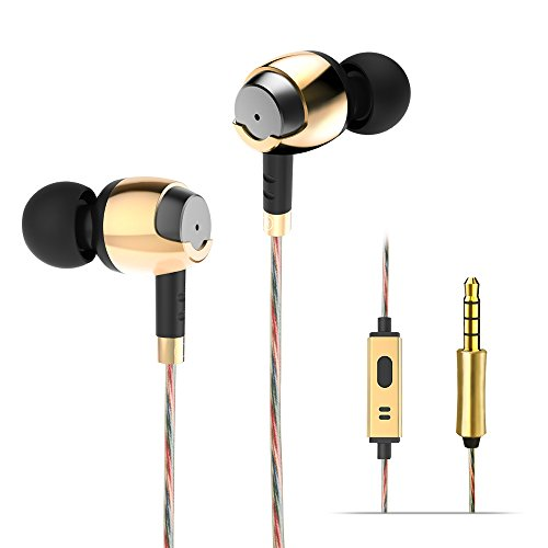 In Ear Headphones – Wieppo Wired Earphones, Metal Stereo Earbuds, 10mm Dynamic Driver Headsets with 5ft Cable, Microphone, Enhanced Bass, Noise Isolating, 3.5mm for Smartphones (Golden)
