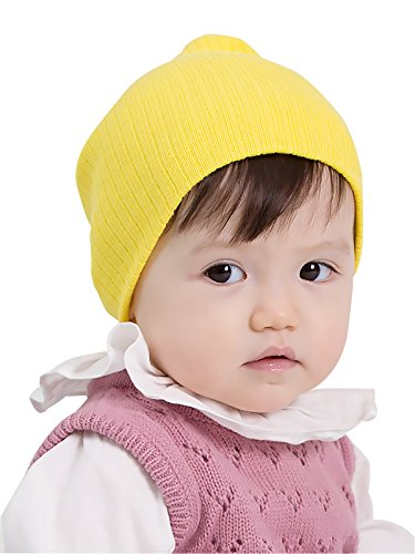 Zando Cotton Baby Girl Beanie Comfort Crochet Warm Infant Toddler Beanie Hat Soft Lined Plain Cool Kids Caps for Winter Bright Yellow