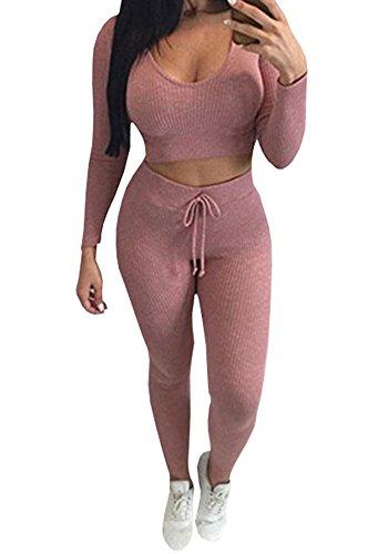 Tutorutor Women 2 Piece Outfits Long Sleeve Crop Tops and Long Pants Sexy Hoody Knit Sets