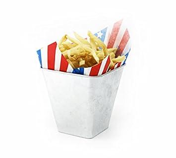 mannily 2pcs metal Fry bandeja con asas rectangular cesta de la freidora frito Chip alimentos, cuadro de, metal, Fry Bucket: Amazon.es: Hogar