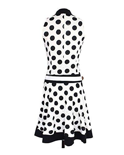 Ca Dot Polka Des Femmes En Mode Plissé Balançoire Ceinture Une Ligne Robe Blanche