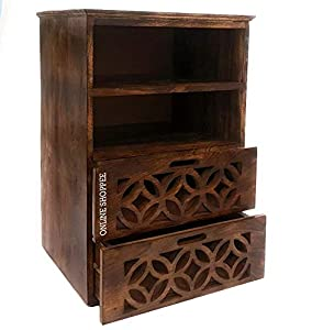 Onlineshoppee Solid Wood Bed Side Cabinet with 2 Drawer for Living Room   Light Walnut Finish
