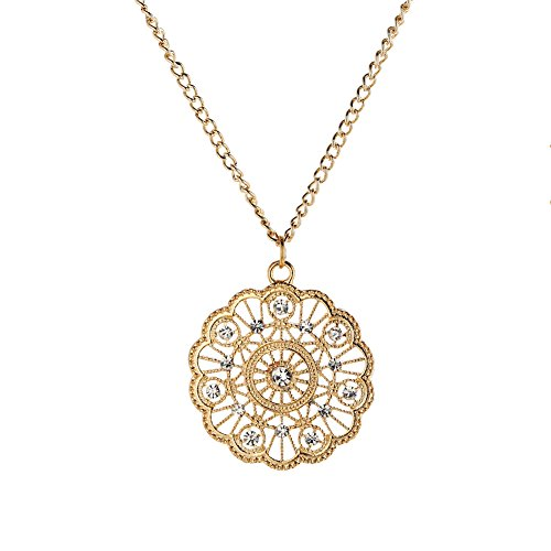 Wyenliz Pendant Necklaces Filigree Gold Plated Hollow Rhinestone Round Circle Floral with 3