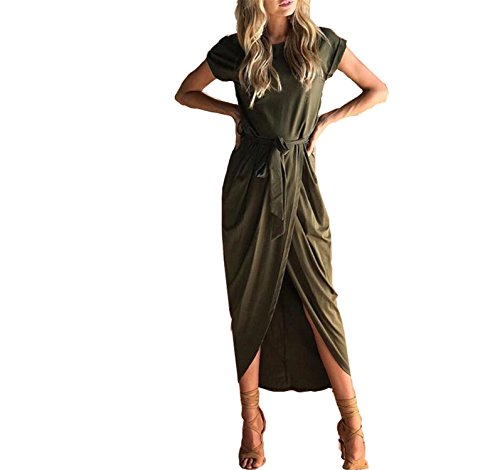 JIANGTAOLANG Women High Split Wrap Dress Summer Roun Neck Short Sleeve Sashes Beach Long Dress