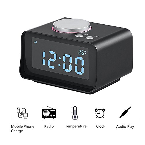 Abedoe Smart Digital Clock Alarm with Multi-function FM Radio Dual Port USB Charger, Support Snooze Indoor Thermometer Brightness Dimmer AUX Function Connect to MP3 MP4 PDA Computer Phone (Black) ()