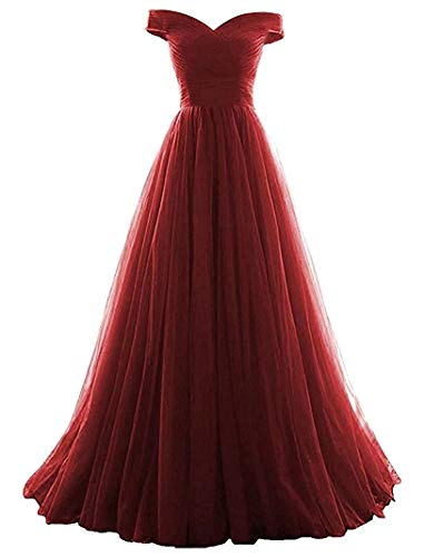 VICKYBEN Women's A-line Tulle Prom Formal Evening Homecoming Dress Ball Gown (4, Burgundy)