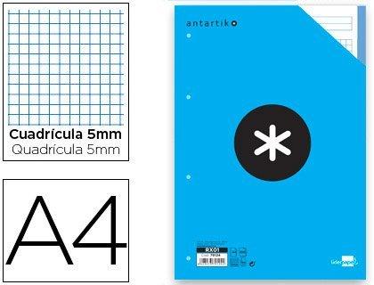 Liderpapel Antartik - Pack de 100 hojas de recambio, cuadro 5 mm, 4 taladros bandas, A4, multicolor: Amazon.es: Oficina y papelería