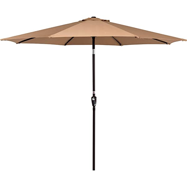 9/' Ft Tan Sun Shade Umbrella Aluminum Pole with Crank Open for Backyard Pool