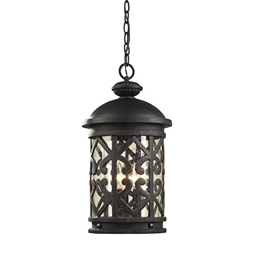 Artistic Lighting 42063/3 3-Light Outdoor Pendant In Weathered Charcoal and Clear Seeded Glass