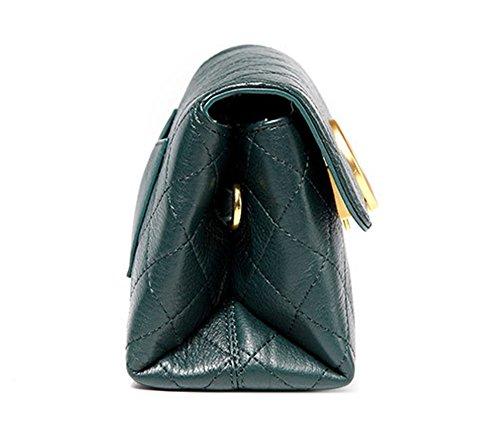 La mujer Xinmaoyuan bolsos de cuero auténtico Paquete Lingge oblicuo de ocio Mini Bolso de piel de vaca suave,vino rojo Green