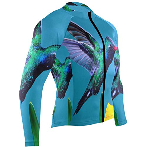 Ladninag Hummingbirds Magic The Air Mens Cycling Jersey Jacket Long Sleeve Outdoor Cycle Wear Outfit