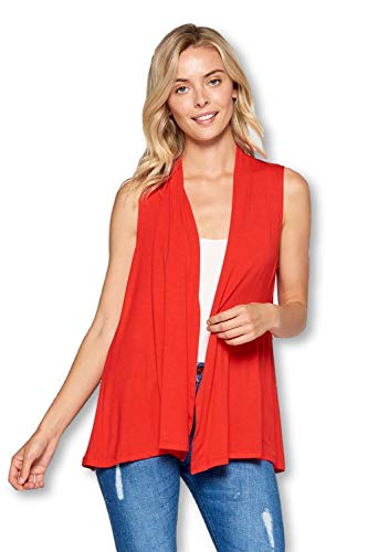 Extra Soft Solid Sleeveless Bamboo Vest Cardigan Sweater for Women -Made in USA (Large, Red)