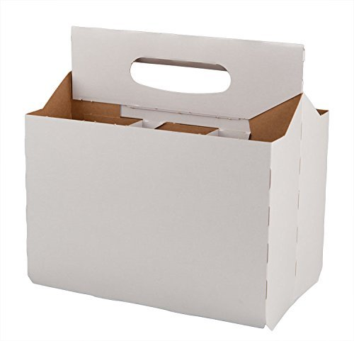 Six Pack Bottle Cardboard Carrier White Boxes for 12 Oz. Beer or Soda Bottles (Pack of 48) by CHQ