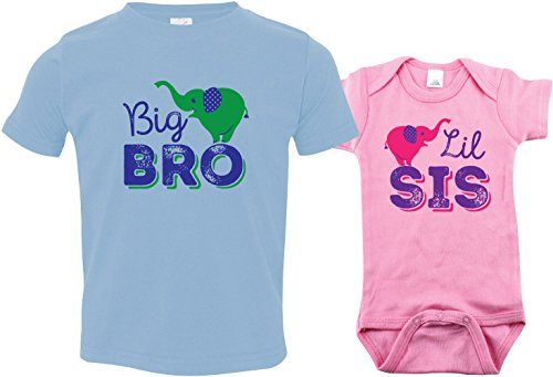 Texas Tees Girls Elephant Bodysuit Toddler Big Brother Shirt, Includes Size 2 & 0-3 m