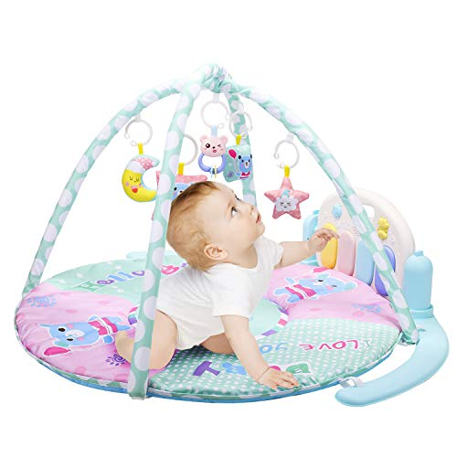 Baby Toy Play Gym Mat, Kick and Play Newborn Baby Sit and Play Piano Gym Mat, Lay and Play Activity Mat with Music and Light from Young Choi's