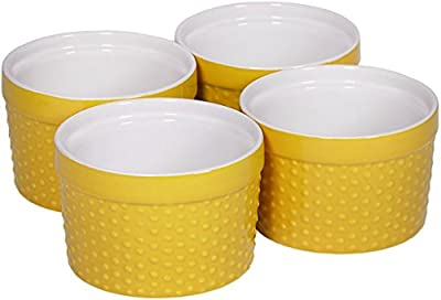 Round Porcelain Ramekin Dessert Dish, Set of 4 - Oven Safe Souffle Baking Dish, 8-oz