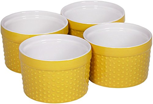 Palais Dinnerware Ramekins Collection Porcelain Soufle Dishes (6 Oz - Set of 4, Yellow - Dots (Yellow Dinnerware Collection)