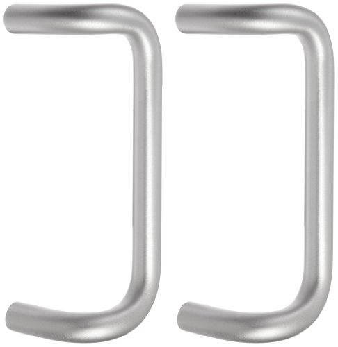 "Rockwood BF157BTB16.28 Aluminum 90-Degree Offset Door Pull, 1"" Diameter x 10"" Center-to-Center, Back To Back Mounting for 1-3/4"" Door, Clear Anodized Finish"