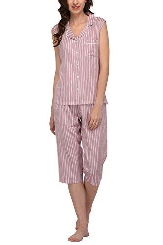 Pant Stripe Capri Pink - Women's Sleepwear 2 Pc Sleeveless Pajama Notch Collar Button Down Top & Capri Set/Pajama Pant Set (Pink Vertical Stripe, M)