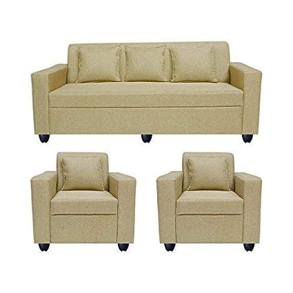 Enjoyable Bharat Lifestyle Wood Lexus 5 Seater Sofa Set Of 3 1 1 Gold Bls Lexus Jt Gold Machost Co Dining Chair Design Ideas Machostcouk