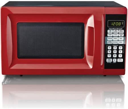 Hamilton Beach 0.7 cu ft Microwave Oven , features Child-safe lockout, 10 power levels in Red