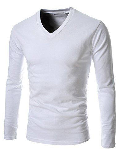 TheLees (CA15) Mens Casual Slim Fit V-neck Long Sleeve Tshirts White US S(Tag size XL)