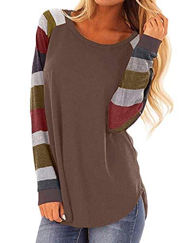 Women's Color Block Long Sleeve Casual Shirt Lightweight Tunic Sweatshirt Tops Brown S