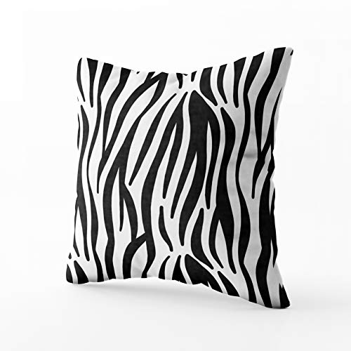 - HerysTa Christmas Home Decorative Cotton Pillowcase 20X20inch(50x50cm) Invisible Zipper Cushion Cases Pattern Animal Skin Print Zebra Black White Square Pillow Case Cover for Sofa or Bed Decor