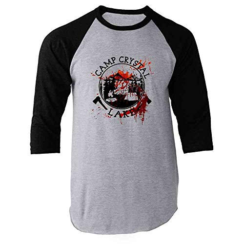 Pop Threads Camp Crystal Lake Counselor Costume Staff Bloody Black L Raglan Baseball Tee -