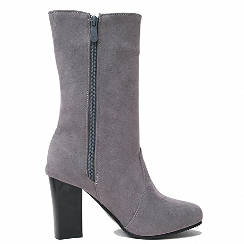 Zip Neige Gris Bloc Mee Charme La Chaussures Talon Bottes Mi Femme Haut De Veau q4wOx0Ew
