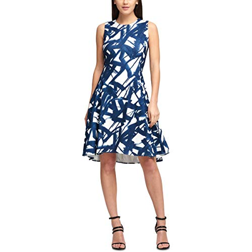 DKNY Womens Sleeveless Printed Party Dress Blue 6 (Dkny Dress Women)