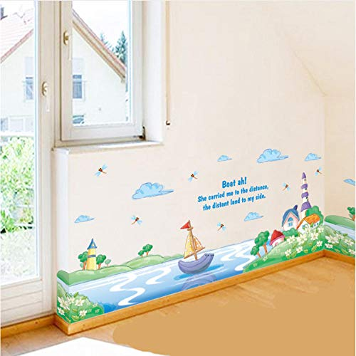 Wall Stickers Lake Boat Castle Flowers Garden Cloud Dragonfly Wall Sticker Wall Border Home Decor Wall Mural Poster Kids Room Nursery Applique
