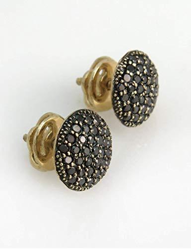 Pave Circle Luxurious Ring - Black Diamond Round Stud Earrings, Black Stone Circle Gold Pave Natural Diamond Earrings, Handmade Jewelry