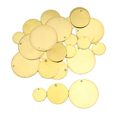 JETEHO 24pcs 3 Sizes Brass Metal Stamping Blanks Circle Disc - 12mm/18mm/25mm Round Stamping Blank Tag with Hole for Necklaces, Earrings, Engraving, Embossing and Metal Stamping Practice