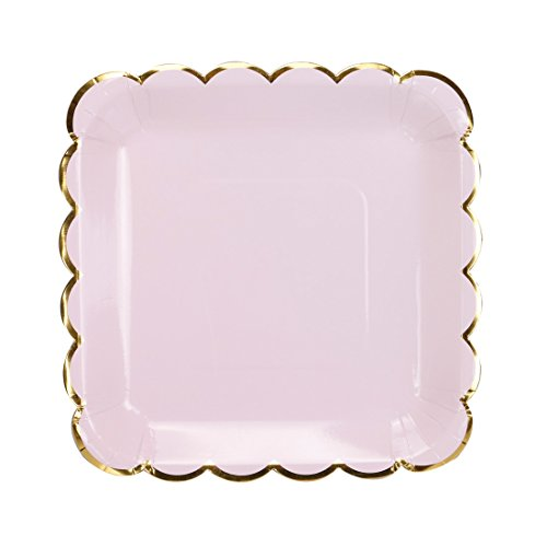 - Geeklife Gold Paper Party Plates, Metallic Gold Border 9 inch Paper Dessert Plates, Pink Cute Decorative Plates Set, 20 count