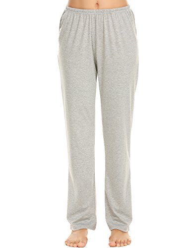 Solid Womens Sleep Pant - Ekouaer Women's Solid Sleep Bottoms Casual Lounge Pajama Pants with Pockets (Grey,S)